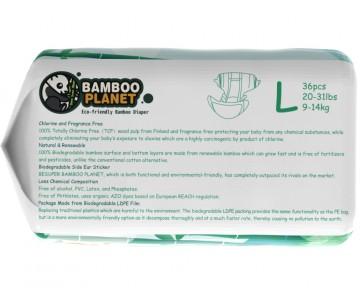 Scutece din bambus Bamboo Planet MARIMEA 4 (L) 9-14 KG - 36 BUC